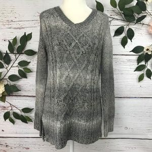Prana Size S Cable Knit Beige Gray Sweater